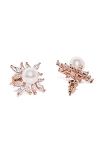 Rose Gold-Plated Floral Studs