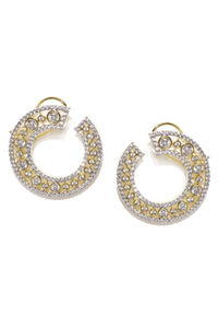 White Rhodium-Plated Cz Contemporary Stud Earring For Women