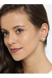 Gold-Toned & White Circular Stud Earring For Women