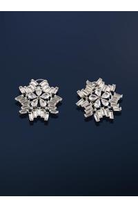 White Rhodium-Plated Circular Stud Earring For Women
