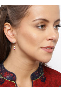 Gold -Plated Pink & White Cz Contemporary Drop Earring For Women