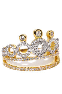 Gold-Plated Cz Crown Finger Ring For Women