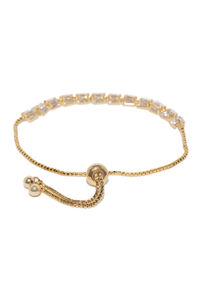 Gold Toned Cz Stone Studded Bracelet For Women