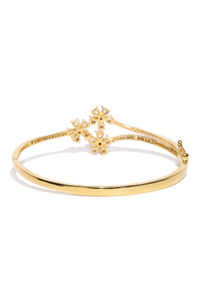 Gold Toned Cz Stone Studded Bangle Bracelet For Women