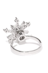 White Rhodium-Plated Cz Star Ring For Women