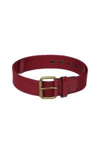 Red Textured Canvas Belt For Men