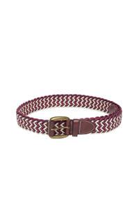 Red & Off White Braided Belt For Men