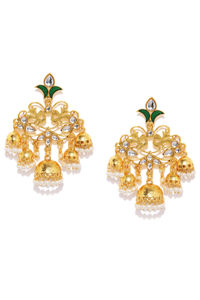 Gold Tone Green Enamel Contemporary Drop Earrings For Women