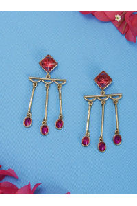 Gold-Toned & Pink Contemporary Drop Earrings