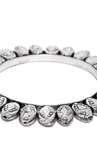 Women Silver-Toned Oxidised Halema Kada Bangle