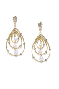 Gold-Toned Teardrop Shaped Embellished Drop Earrings