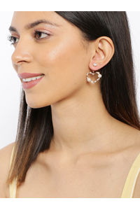 Gold-Toned Heart Shaped Drop Earrings
