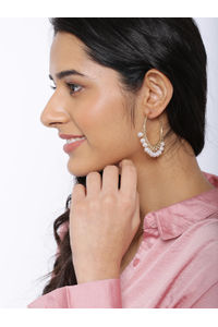 Gold-Toned & White Geometric Half Hoop Earrings