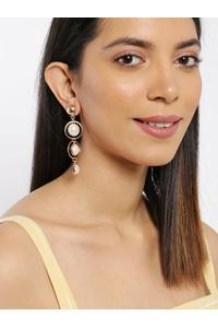 Gold-Toned & Off-White Teardrop Shaped Drop Earrings