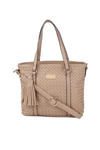 Ecru Weave Trapeze Handbag