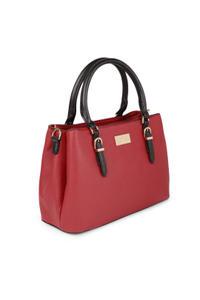 Red Daul Tone Buckle Up Shoulder Bag