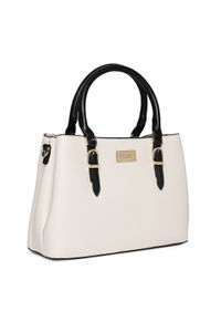 White Dual Tone Buckle Up Shoulder Bag