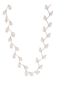 Silver-Toned & White Stone Studded Necklace