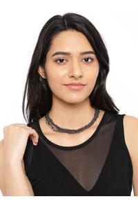 Black Multi-Layered Chain Necklace