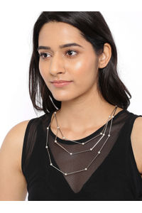 Silver-Toned Stone Studded Layered Necklace