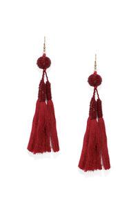 Red Seadbead Drop Earrings