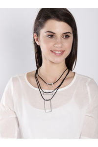Black & Silver Layered Necklace For Women