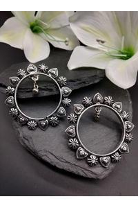 Oxidised Silver-Toned Circular Drop Earring For Women