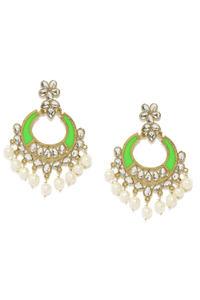 Gold Tone Green Floral Chanbali Earrings For Women