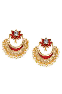 Gold Tone & Red Lotus Floral Chanbali Earring For Women