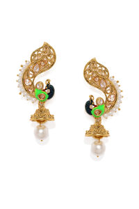 Gold-Toned Peacock Shaped Drop Earrings