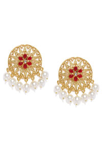 Gold-Toned & Red Circular Drop Earrings