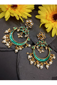 Green & Gold-Toned Circular Drop Earrings