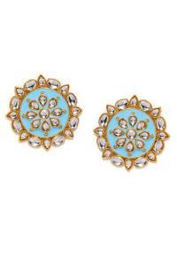 Blue & Gold-Toned Circular Studs