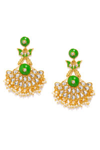 Green & Gold-Toned Classic Drop Earrings