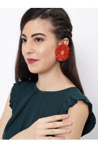Orange Circular Drop Earring For Women
