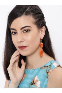 Orange Beaded Circular Drop Earring For Women
