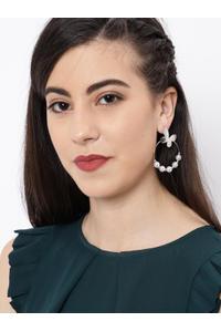 Silver Tone White Circular Drop Earring For Women