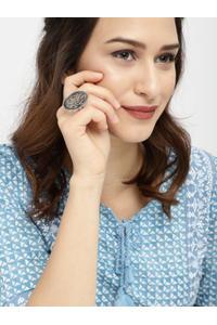 Women Oxidised Silver-Toned Finger Ring