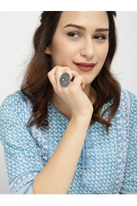 Women Oxidised Silver-Toned Dome Destiny Finger Ring