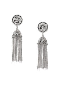 Oxidised Silver-Toned Dome Shaped Drop Earrings