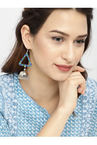 Silver-Toned & Blue Triangular Jhumkas