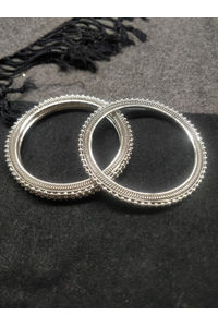 Set Of 4 Silver-Toned Embellished Bangles