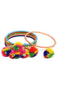 Set Of 6 Multicolored Embellished Bangles