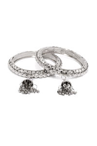 Set Of 2 Silver-Toned Embellished Bangles