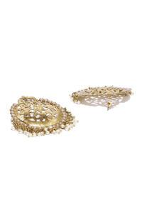 Gold Tone White Pearl Drop Earrings For Women