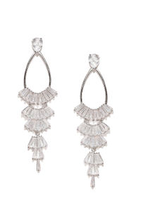 White Rhodium-Plated Cz Contemporary Drop Earring For Women