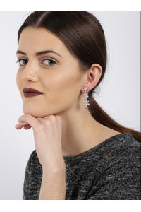 Silver -Plated Cz Contemporary Drop Earring For Women
