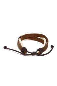 Men Brown & White Braided Bracelet