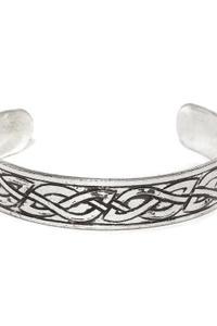Men Silver-Toned Textured Metal Cuff Bracelet