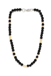 Men Black Beaded Necklace